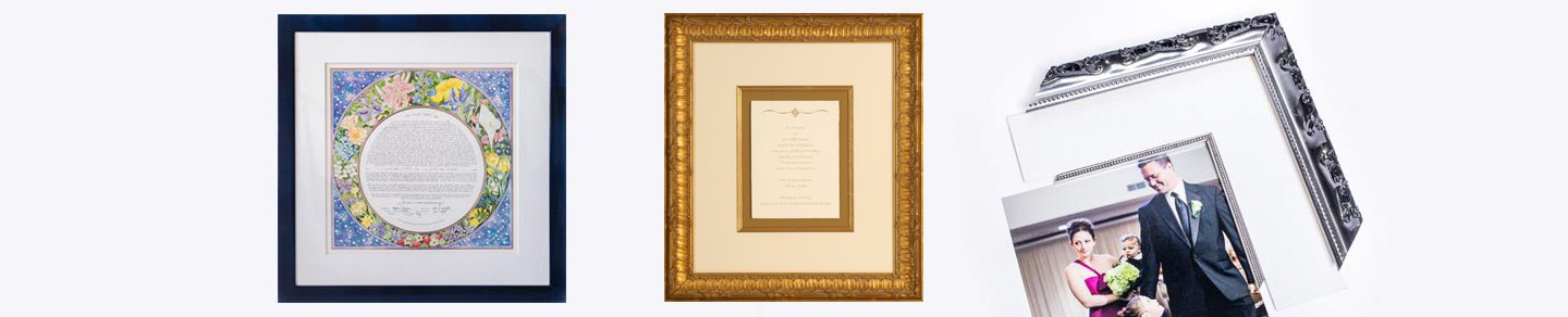 framed ketubah, framed invitation, framed wedding photo corner